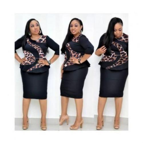 Leopard Print Insert Peplum Dress - Black And Leopard Print