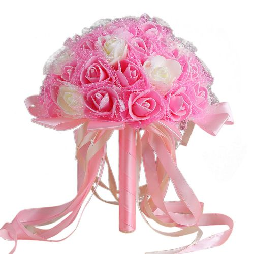 Hiamok_Dtrestocy Crystal Ribbon Roses Bridesmaid Wedding Bouquet Bridal Artificial Silk Flowers