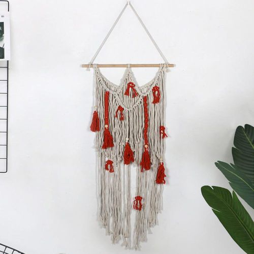 Hand-made Hanging Bohemian Woven Tapestry Art Decoration With Tassel Wall Decor