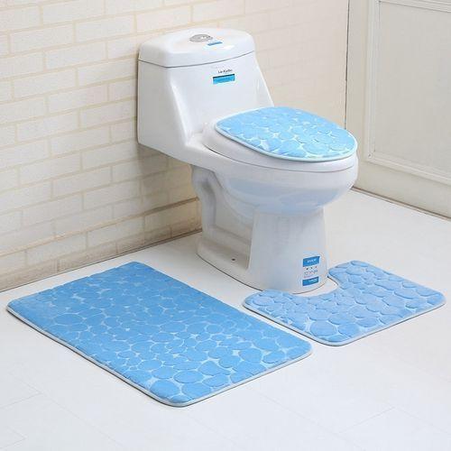 3 Piece Sets Contour Mat Toilet Rug & Solid Color Bath Mats