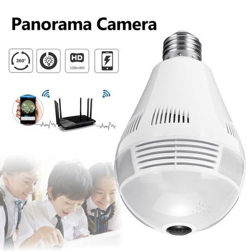 360° Panorama Fisheye Camera Lamp IP CCTV Monitor Light Bulb WIFI Night Vision