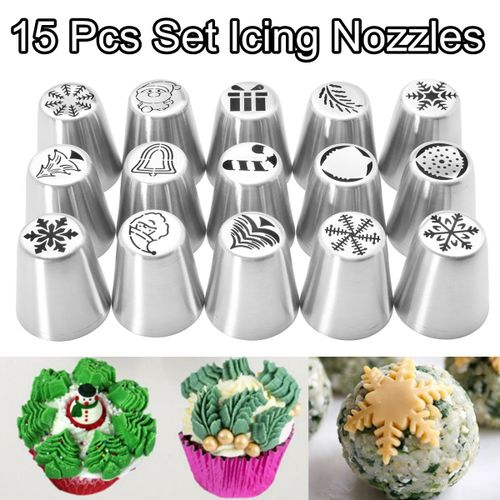 15 Pcs Set Christmas Icing Nozzles Pipe Tips Fondant Cupcake Pastry Baking