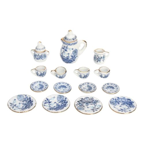 15PCS Dollhouse Miniature 1/12 Dining Blue Floral Ceramic Tea Set Pot Cup Plate