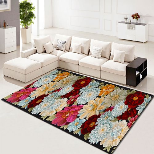 Living Room Rug Beautiful Flower Pattern Washable Rectangle Carpet