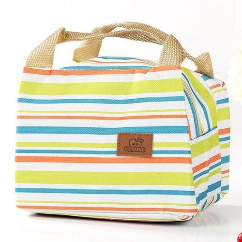 Eleganya Simple Colorful Stripes Printing High Quality Portable Insulation Lunch Bag