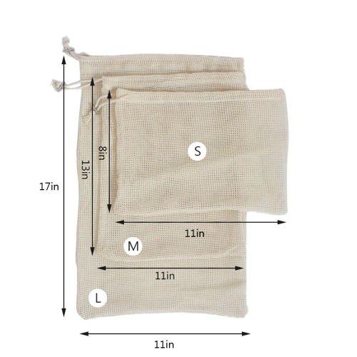 Reusable Produce Mesh Bags Organic Cotton Mesh Bags