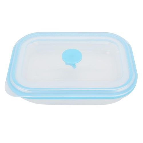600ml Lunch Box Portable Food Grade Silicone Rectangular Folding Lunch Box Container