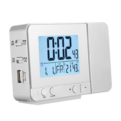 LED Multifunction Projection Digital Alarm Clock Temperature USB (Silver)