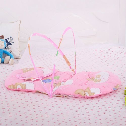 Large Portable Folding Mosquito Net Baby With Pillow Clean Safe Pink