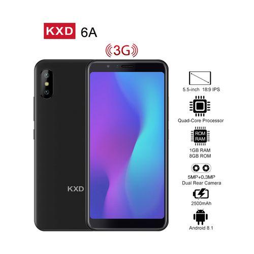 "KXD 6A 5.5"" 18:9 Full Screen (Quad-Core,1GB,8GB ROM) Android 8.1, 5MP Dual Rear Camera,Dual SIM 3G,Smartphone - Black"
