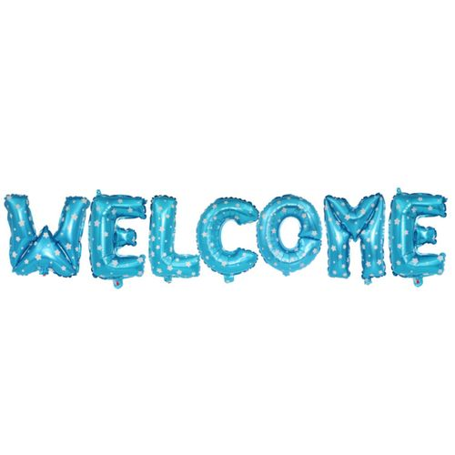 16 Inch Welcome Letter Balloon Set-BLUE