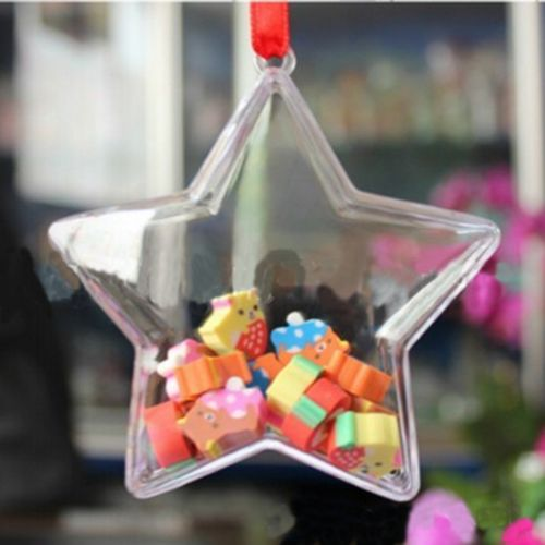 5X Clear Plastic Ornament Tree Transparent Bauble Candy Box For Christmas Decor