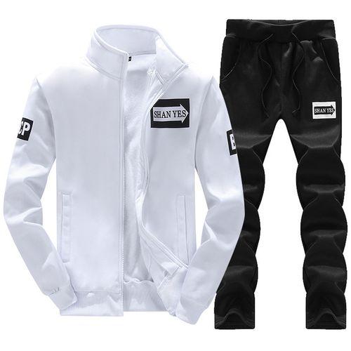 Men's Sports Suit (Sweatshirt + Pants)-white/black