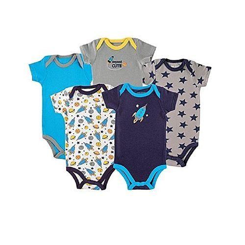 5 Pack Short Sleeve Baby Bodysuits- Multi