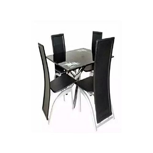 Square Dining Table With 4 Seater (BLACK)
