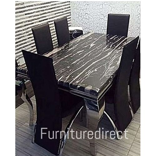 Marble Bronian Dining Set + 6 Dininng Chairs