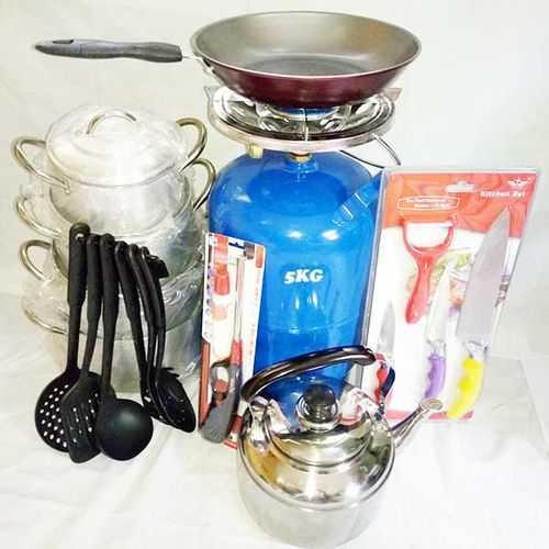 Economy Kitchen Bundle - 5kg Gas Cylinder+4 Set Of Pots+1 Whistling Kettle +1 Non-stick Frying Pan+1 Set Of Non-stick Spoons+1 Gas Lighter And 1 Set Of Knife