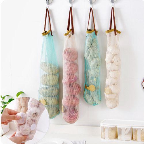 Watermalend Mesh Net Breathable Fruit Vegetable Garlic Onion Hanging Storage Bag Kitchen