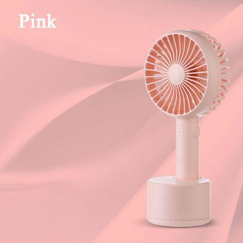 Handheld Adjustable Desktop Fan With Aromatherapy Box - Pink