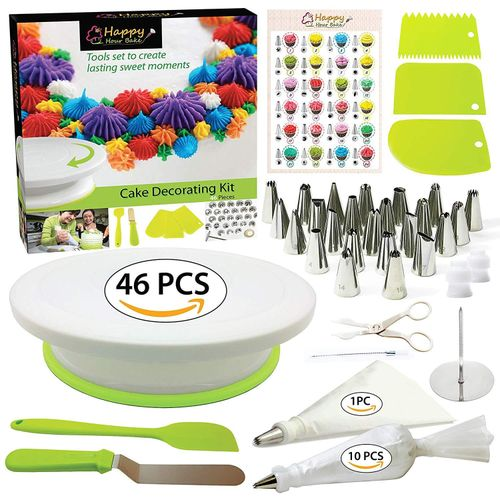 46 Pcs/set Cake Turntable Piping Tip Nozzle Pastry Bag Set