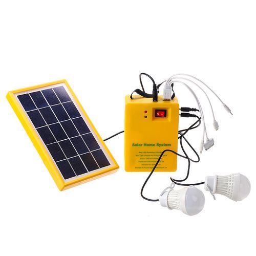Solar Panel Power System Kit USB Charging Generator Battery LED Light +2 Bulbs
