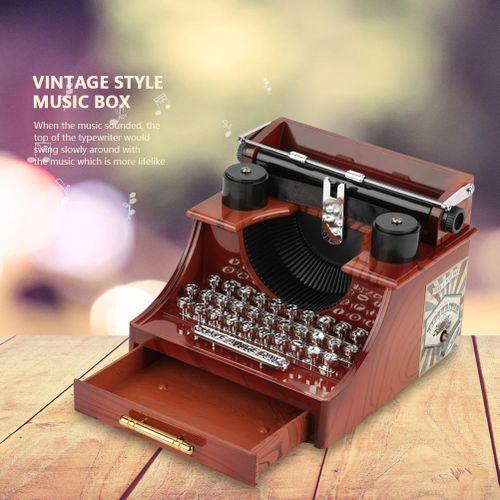 Mini Vintage Style Creative Retro Typewriter Clockwork Music Box Gift Table Decoration