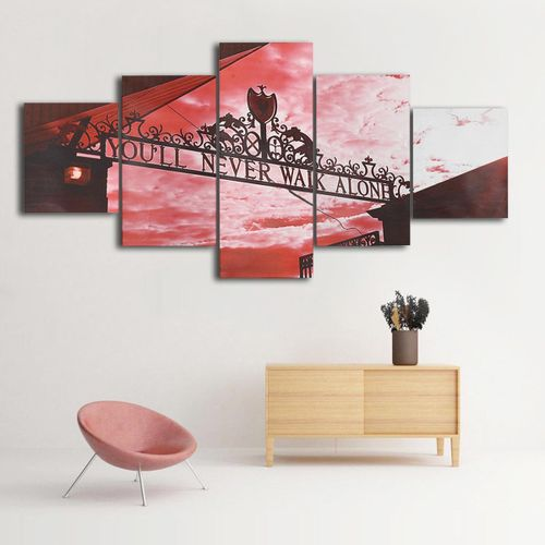 You'll Never Walk Alone Liverpool Red 5 Panel Canvas Print Wall Art