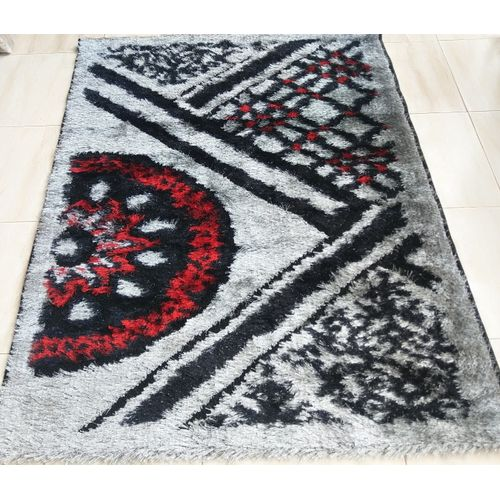 Shaggy Centre Rug-grey/red