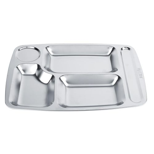 304 Stainless Steel Divided Dinner Tray Food Container 5 Sections School Canteen Plate Serving Tray Dropshipping