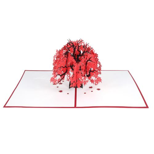 Maple Pop Up Card 3D Card Birthday Holiday Anniversary Greeting Card