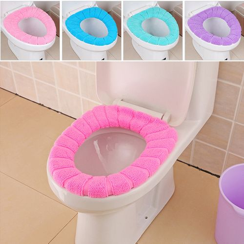 3 Colors O Type Soft Toilet Closestool Lid Seat Cover Home Bathroom Warm Mat Washable Elastic