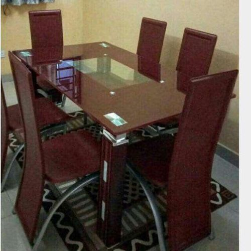 2020 Dinning TableWith 6 Chairs Set - Brown (LEVEL UP)