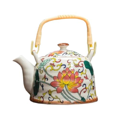 Japanese Style Porcelain Teapot Ceramic 900ml,Lotus