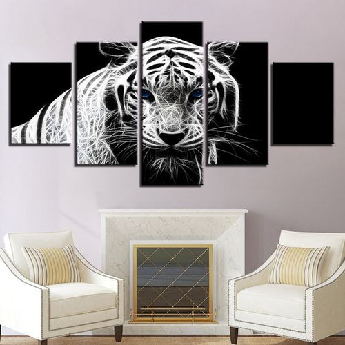 5PCS Modern Home Bedroom Wall HD White Tiger Art Picture Spray Painting Canvas