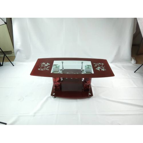 Aesthetic Strong Tempered Glass Coffee Table (008)- Brown