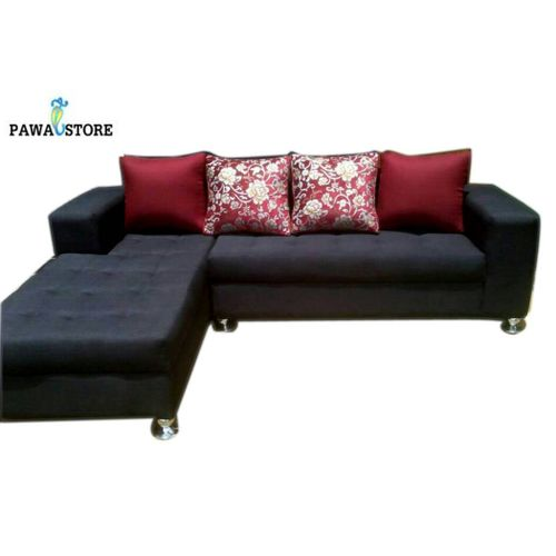 Adorable Black 5 Seater L-Shaped Fabric Sofa - Black. 'ORDER NOW AND GET FREE OTTOMAN' (Delivery To Lagos Only)