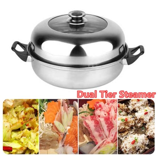 2 Tier Stainless Steel Steamer Induction Cookware 28cm Steam Pot Cooker With