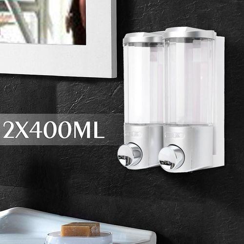 Xueqin 2x400ML Bathroom Double Liquid Soap Dispensers Wall Mount Home Hotel Shower Body Lotion Shampoo Dispenser