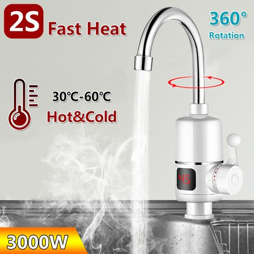 Purism Electric Faucet Tap Instant Hot Water Heater Display Home Bathroom Kitchen 3000W