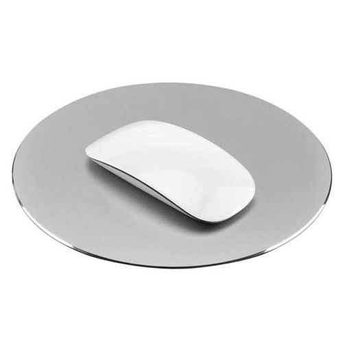 New ArrivelLeegoal 220x220mm Mouse Mat Circular Gaming Aluminium Metal Mouse Pad With Waterproof Non Slip Rubber Base And Frosted Surface Mousepad For Apple MackBook, Silver Gray