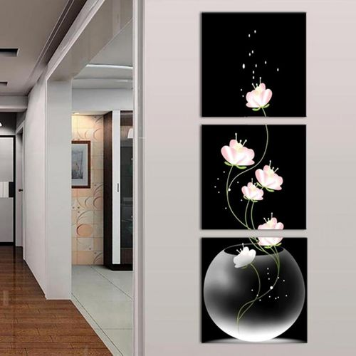 1 Set Best Design 3 Panels Unframed Vase With Flower Canvas Painting Picture Wall Craft Home Decor