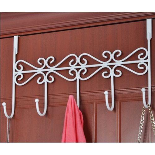 5 Hooks Towel Coat Cloth Bag Over Door Bathroom Kitchen Hanger Hanging Rack Holder