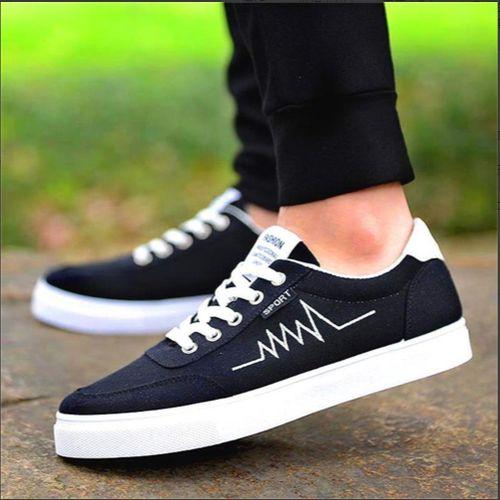 Men's Lace Up Sneakers Canvas - Black