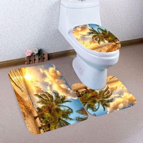 Fenhehu 3PCS Christmas Bathroom Non-Slip Pedestal Rug + Lid Toilet Cover + Bath Mat Set