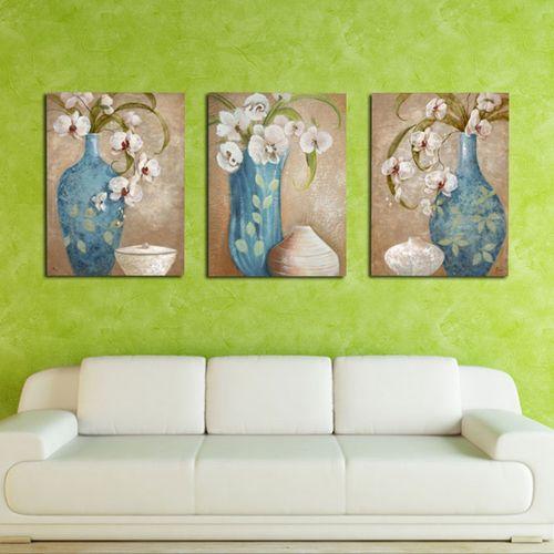 MT Blue Vase Painting Wall Art Paints Modern Decorative Painting Unframed 13120-multicolor