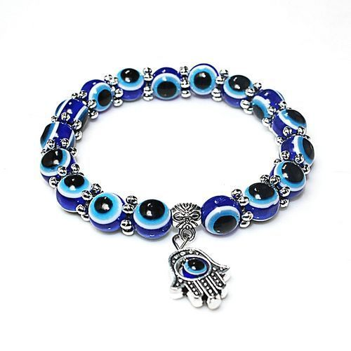 Blue Eye Detail Bead Bracelet With Hand Of Hamsa