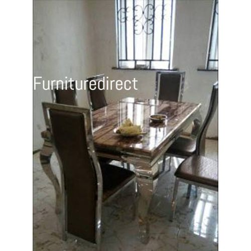 Marble Brown Dinning Set Furniture + 6 Dinning Chairs