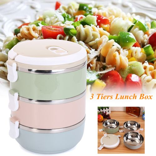 3 Tier Lunch Box Bento Thermos Heat Food Container Portable Compact Food UK