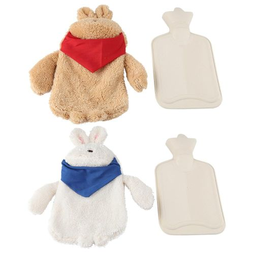 Rubber Hot Water Bottle Bag With Soft Cute Rabbit Shape Cover Cushion Children Toy Gift