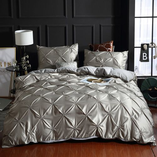 Bedding Set Simple European Bedding Three Pieces Suit For Home Or Hotel Silver